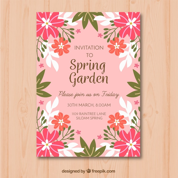 elegant pink garden party invitation template vector free download