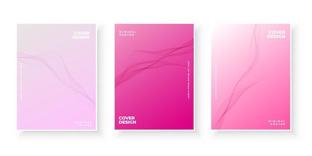 물결 모양의 우아한 핑크 그라데이션 커버 컬렉션 무료 벡터