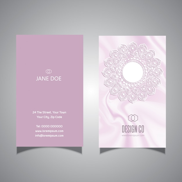 Elegant pink lace design business card template Free Vector
