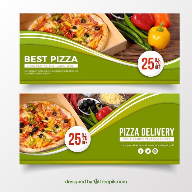 Elegant pizza banner Free Vector