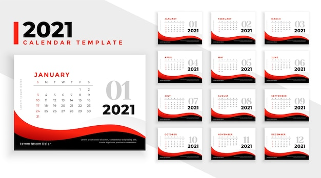 Elegant professional 2021 new year business calendar template Free Vector