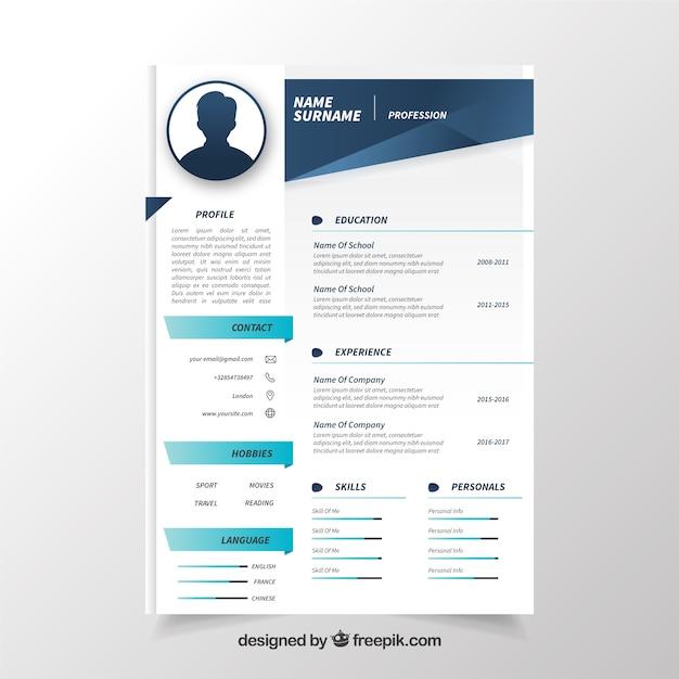 elegant professional curriculum vitae vector free download