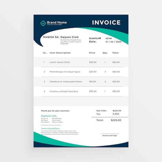 elegant professional invoice template design vector free. Black Bedroom Furniture Sets. Home Design Ideas