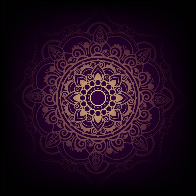 Elegant purple and golden mandala design Free Vector