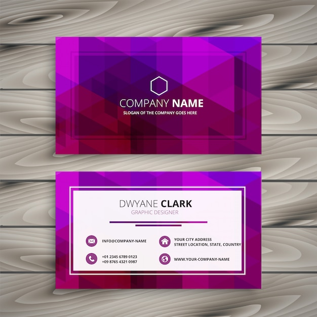 elegant purple business card design Free Vector