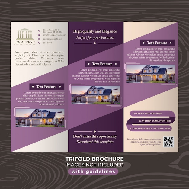 Elegant purple business design trifold brochure template for Elegant brochure templates