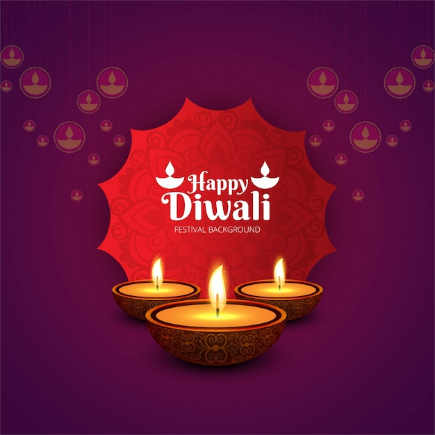 Elegant purple diwali design Free Vector