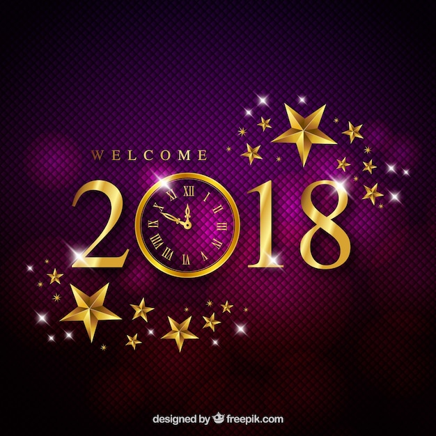 Elegant purple new year background Free Vector