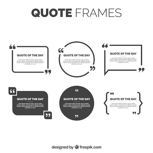 Elegant quote frames pack Free Vector