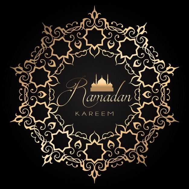 Elegant ramadan background with golden and black design Free Vector
