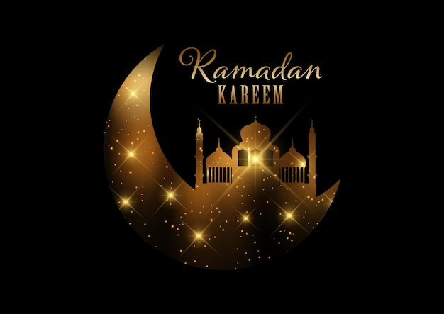 Elegant ramadan kareem background with gold lights and stars design Free Vector
