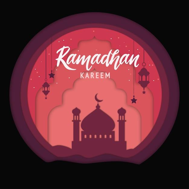 Элегантный декоративный фестиваль рамадан карим фон с мечетью Premium векторы