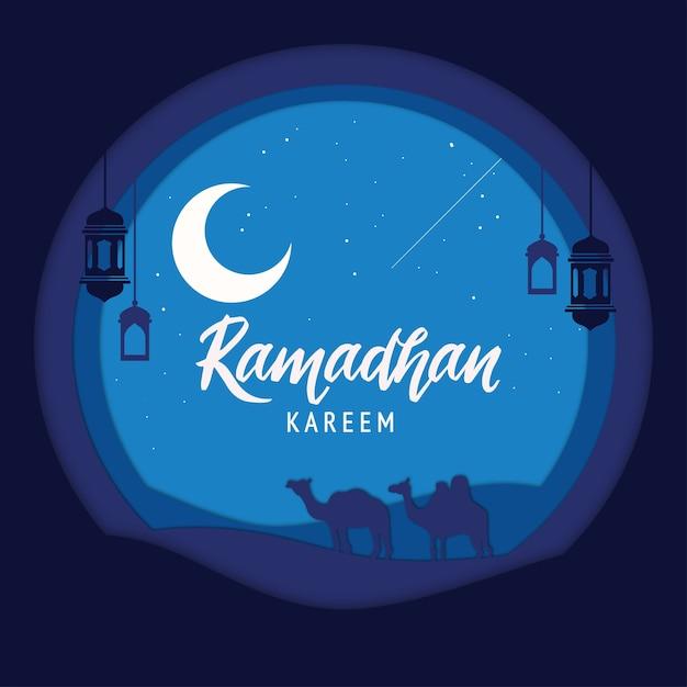 Элегантный декоративный фестиваль рамадан карим фон Premium векторы