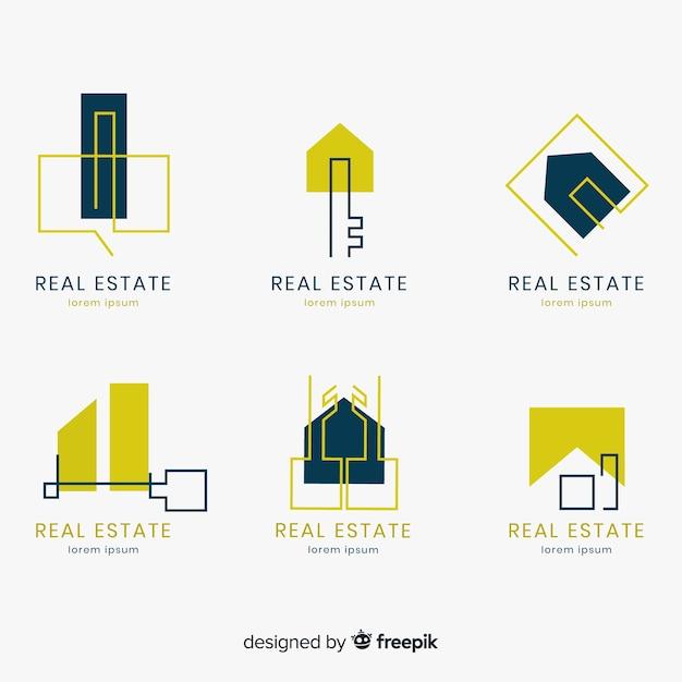 Elegant real estate logo collection Free Vector