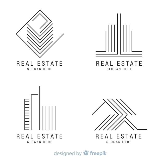 Элегантная коллекция логотипа недвижимости Premium векторы