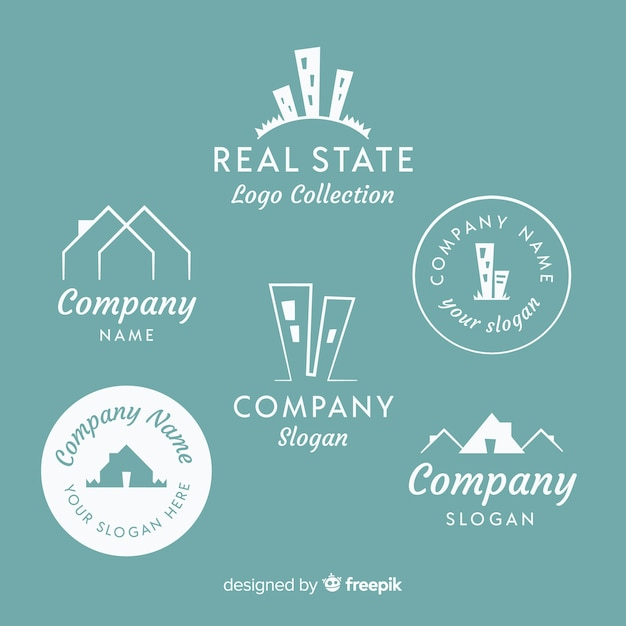 Elegant real estate logo collection Free Vector