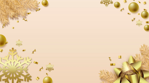 Elegant realistic christmas style with copy space Free Vector