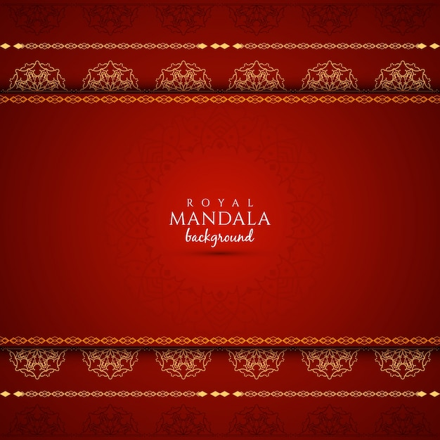 Elegant red background with mandala design Free Vector