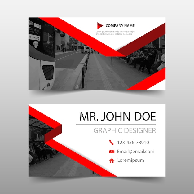 Elegant Red Business Card Template Design Vector Free Download