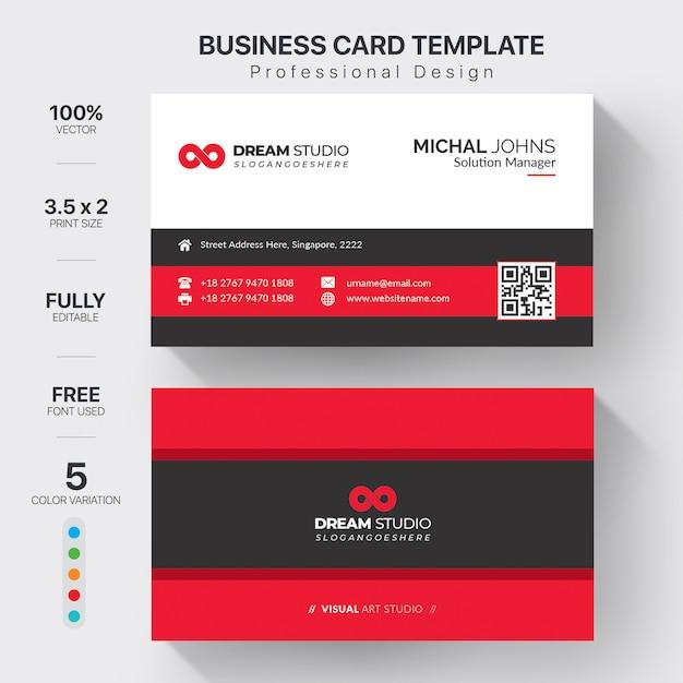 Elegant red business card Premium Vector