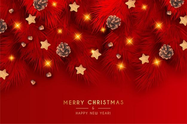 Элегантный красный новогодний фон с реалистичным украшением Бесплатные векторы