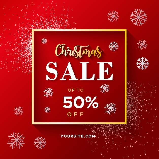 Elegant Red Christmas Sale Banner with glitter Free Vector