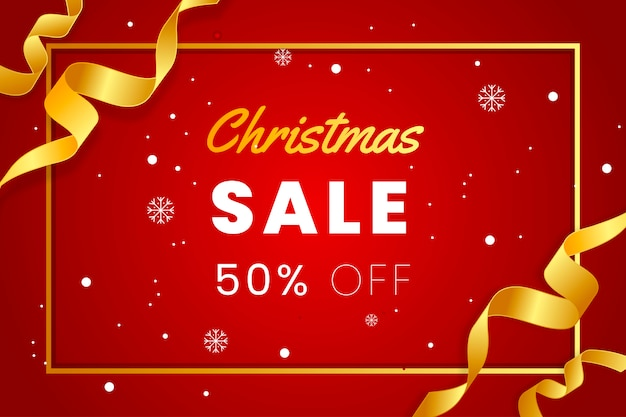 Elegant red christmas sales banner with gold ribbon Premium Vector