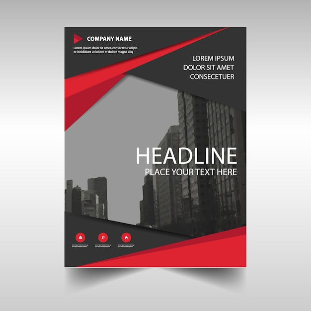 elegant red corporate annual report template free vector