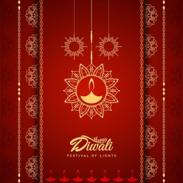 Elegant red diwali design Free Vector