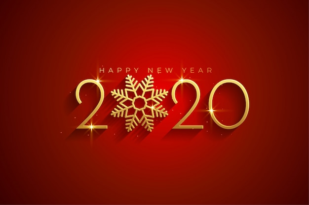 Elegant red and gold happy new year 2020 background card Free Vector