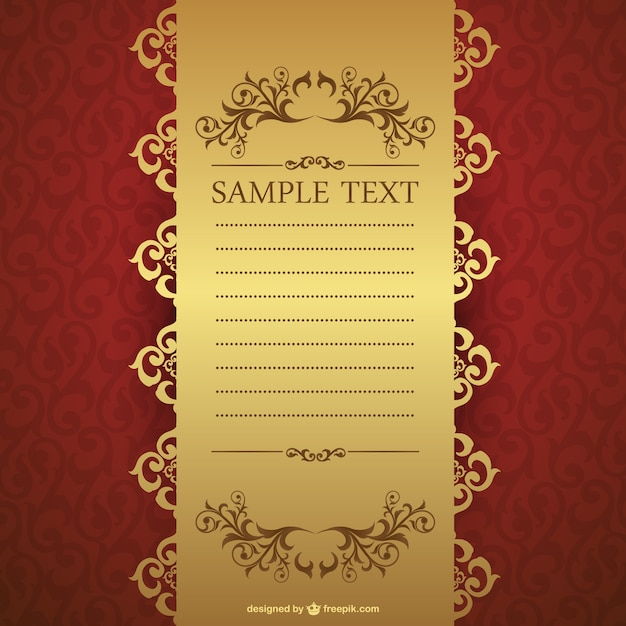 Elegant Red And Golden Invitation Template Vector