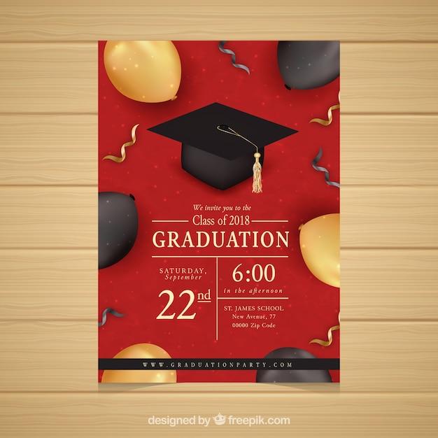 Elegant red graduation party invitation Free Vector