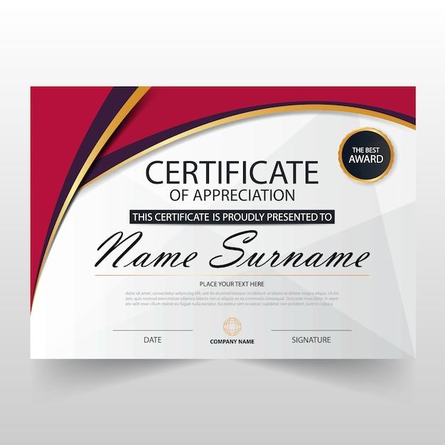 Elegant Red Horizontal Certificate Template Vector Free Download