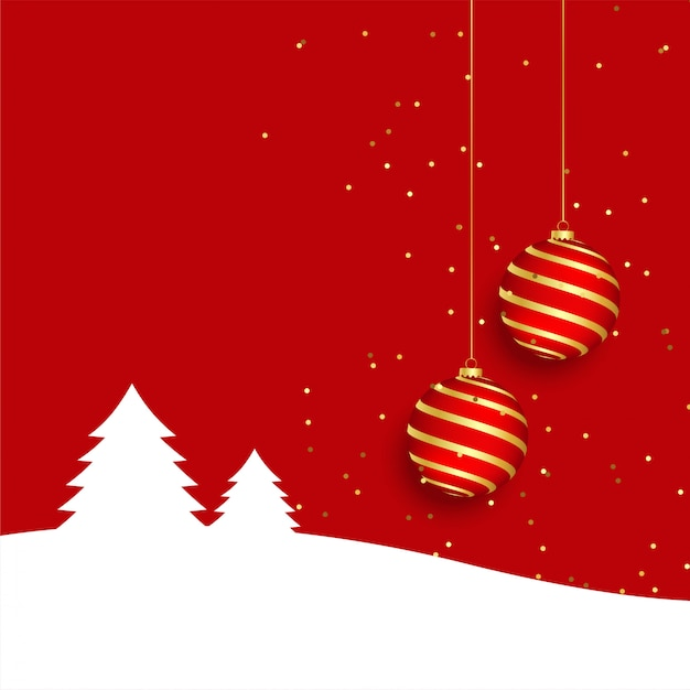 Elegant red merry christmas greeting card background with realistic ball Free Vector