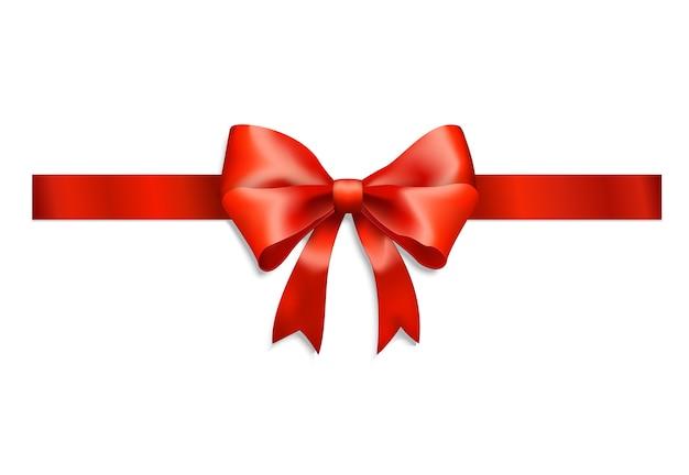 Elegante nastro rosso e fiocco isolato su bianco Vettore gratuito