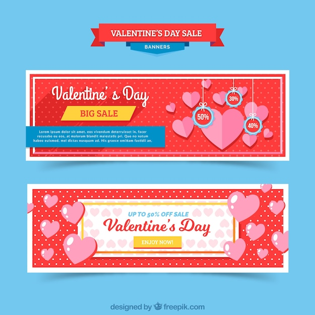 Elegant red valentines day banners