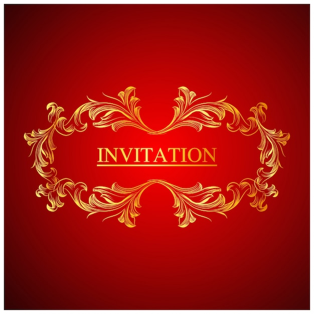 Elegant red wedding invitation template Vector Free Download