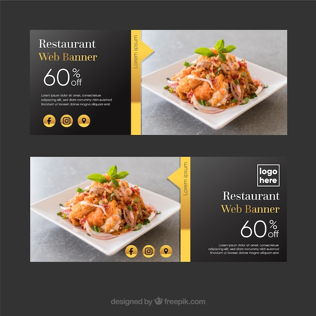 Elegant restaurant banner collection with photos Free Vector