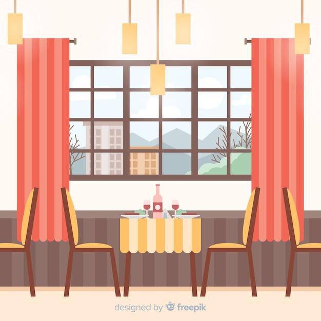 Elegant Interior Design Bar: Elegant Restaurant Interior With Flat Design