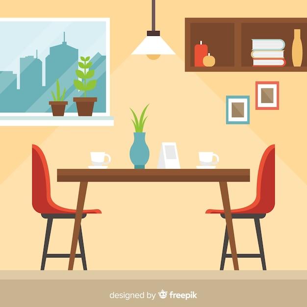 Elegant restaurant interior with flat design Free Vector