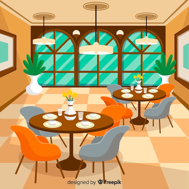 Elegant restaurant interior with flat design Free Vector