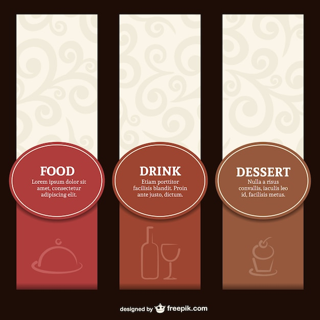Elegant restaurant label menu set Free Vector
