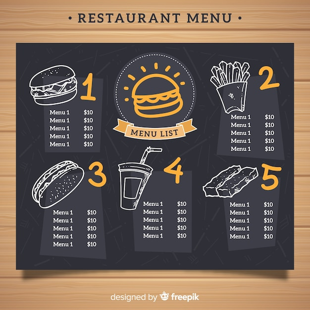 Elegant restaurant menu template with chalkboard style Free Vector