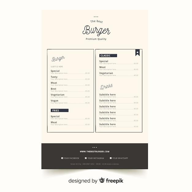 elegant restaurant menu template with vintage typography vector