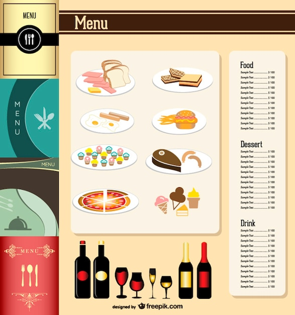 Elegant restaurant menu template Free Vector