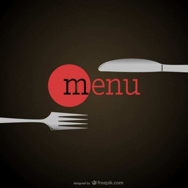 Elegant restaurant menu with a fork and a knife Free Vector