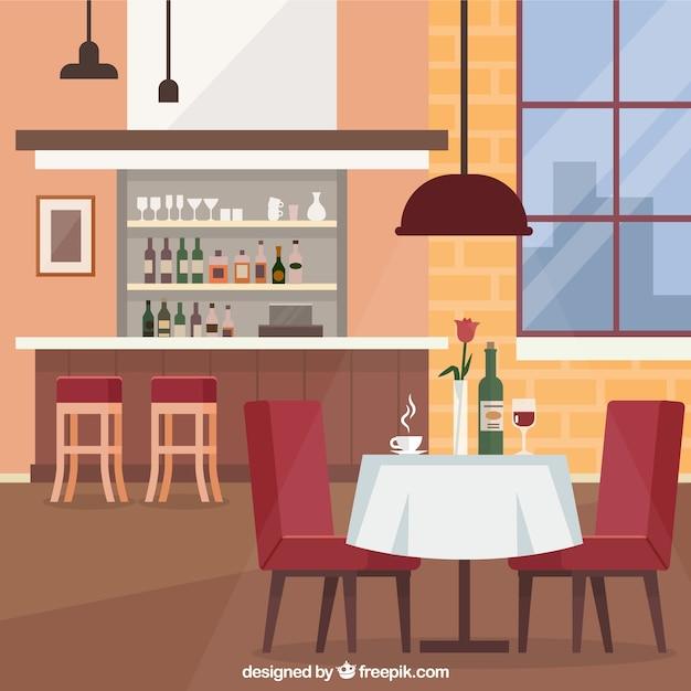 Elegant restaurant with flat design Free Vector