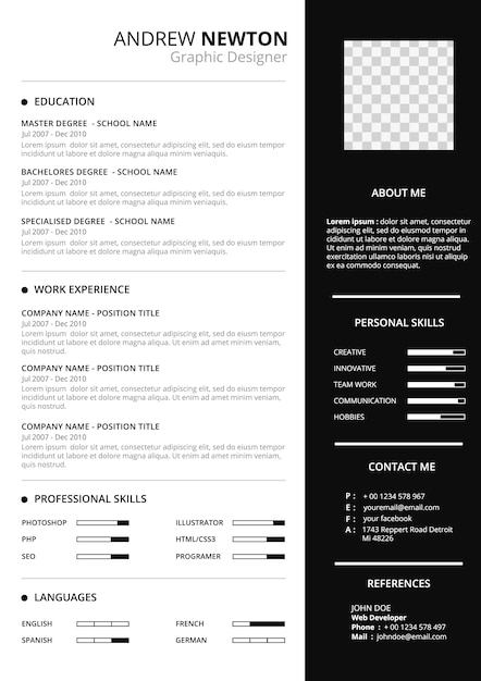 elegant resume template free vector