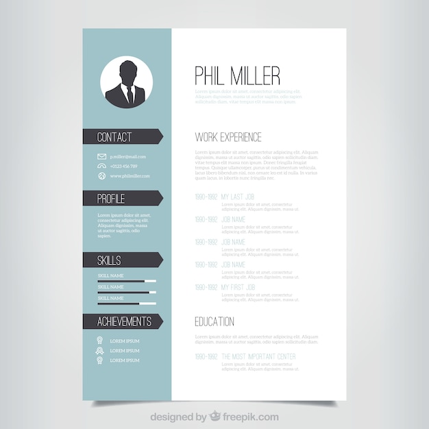 Good Elegant Resume Template Vector Free Download