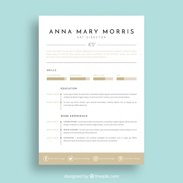 Captivating Elegant Resume Template Free Vector